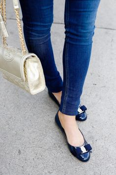 Women S Fashion Queen Street Mall Product Cute Shoes Flats, Flats Outfit, Pretty Shoes, Loafer Shoes, On Shoes, Me Too Shoes, Blue Shoes Outfit, Ferragamo Shoes Women, Salvatore Ferragamo Shoes