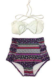 White Bow Top and Purple Flora Flora Highwaisted High Waisted Waist High-Waist High-rise Swimsuit Swimwear Bikini Bathing suit suits S M on Etsy, $39.99