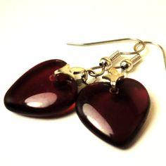 Heart Shaped Earrings Red Earrings Fashion Jewelry by pink80sgirl, $12.00