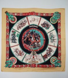 Hermes XL Scarf Silk Chevaux du Trait 1994 RARE Collectible Yellow Green  Horses Red CHIC 820d88b0720