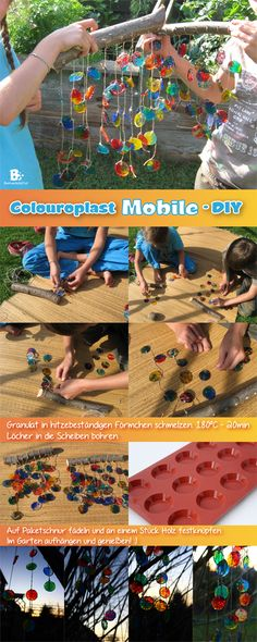 Tutorial for a fast and easy windchime / mobile with melted beads / pellets. Your kids will love it! Schmelzgranulat Colouraplast / Einfache Anleitung für ein Mobile