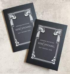 Monochrome | Art Nouveau | Peacock | Gatsby themed Pocketfold Wedding Invitation