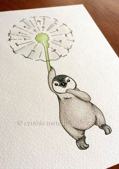 drawing of a penguin on a dandelion in coloured pencils