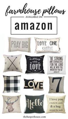 Cheap farmhouse pillows on Amazon!