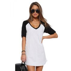 White Contrast Black Color Block Dress featuring polyvore, fashion, clothing, dresses, cotton dress, white colorblock dress, black day dress, black dress and kohl dresses
