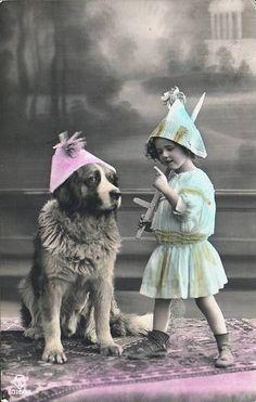 girl and Saint Bernard