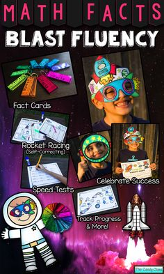 Motivate students to blast fluency with Math Facts Fluency Blast. Celebrate success with rocket glasses and rocket crowns. Soar the Math Facts Galaxy. Blast off with math fact cards. Rocket race with self-correcting cards. Zoom to success on the speed tests. Launch fluency with intervention.