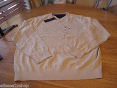 Men's Tommy Hilfiger long sleeve sweater shirt V neck khaki pull over NEW large