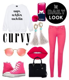 """""""Pink!!💗💗💗💗"""" by anafilipafonseca2004 on Polyvore featuring 7 For All Mankind, Converse, Lime Crime, Henri Bendel, Ray-Ban and Karl Lagerfeld"""