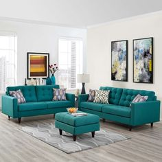 Modway Empress Sofa and Loveseat Set of 2 Multiple Colors - Teal Living Rooms, Living Room Turquoise, Living Room Sofa Design, Living Room Sets, Home Living Room, Living Room Designs, Teal Living Room Furniture, Turquoise Couch, Rustic Furniture