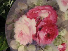 """ROSES ROSES ROSES"" Gorgeous Hand Painted Antique Limoges France Porcelain Floral Cabinet Art Plate Jean Pouyat JPL Circa 1900"
