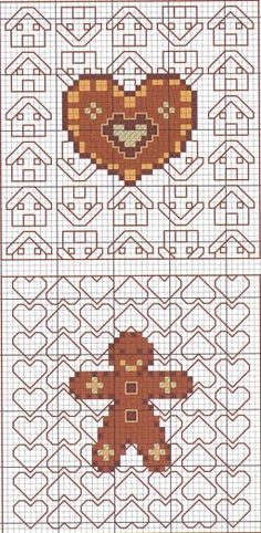 cross-stitch gingerbread biscornu... no color chart available, just use the pattern chart as your color guide.. or choose your own colors...