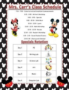 This class schedule is completely editable and perfect for your Disney classroom. Print on the poster printer at your school and you have a beautiful reference!