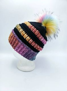 Merino Wool Acrylic Beanie in Black and Rainbow by OhanaBoutiqueCrochet on Etsy Faux Fur Pom Pom, Ohana, Biodegradable Products, Merino Wool, Crochet Hats, Beanie, Rainbow, Boutique, Black
