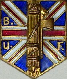 Pin of the B.U.F. = British Union of Fascists.