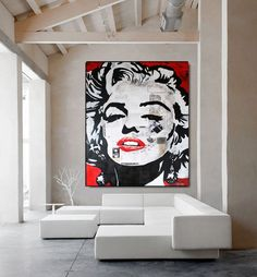 Marilyn MONROE « Fascination » ORIGINAL Art Painting Portrait Contemporary Art Mixed Media Canvas Acrylic Painting White Black Gold Ready to Hang By Kathleen Artist PRO.