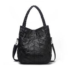 Sale 14% (49.59$) - Women Genuine Sheepskin Shoulder Bag Large Capacity Durable Tote Handbag Two Size