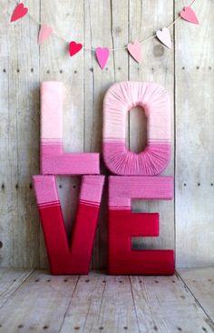 #Valentine's Day Love Yarn Letters paper #heart banner #DIY #crafts #Tutorial ToniK Valentine Ⓑ Mine sisterssuitcasebl...