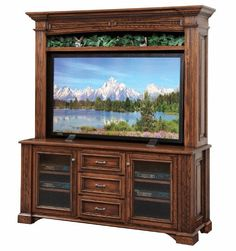 Amish Lincoln 68 TV Stand With Optional Hutch Top