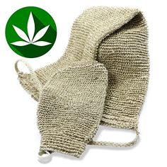 Best All Natural Back Scrubber and Bath Mitt Set BONUS HANGING HOOKS Durable Hemp Exfoliating Body Scrubber  Exfoliate Your Skin From Head to Toe With Ease in the Shower or Tub Machine Washable ** Click image to review more details.