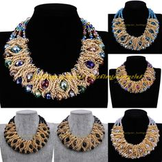 Hot Fashion Gold Chain Luxury Clear Crystal Chunky Collar Statement Bib Necklace #Unbranded #ChokerBibCollar