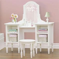 Cafekid™ White Bookcase Vanity and Stool Set from Costco... I want for my Naneene someday!