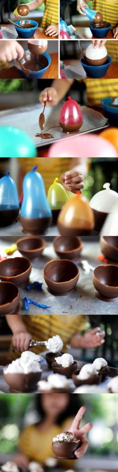 """Easy edible chocolate ice cream bowls using BALLOONS! You can use small balloons to make chocolate edible chocolate shot """"glass"""" to drink rumplemitz and chase with the chocolate - it's awesome! Just Desserts, Delicious Desserts, Dessert Recipes, Yummy Food, Dessert Cups, Fancy Desserts, Dessert Healthy, Dessert Table, Snacks"""