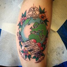 Finished result of today's travel inspired tattoo by @bonerattlefredd #traveltattoo #tattoos #ink #inked #traditional