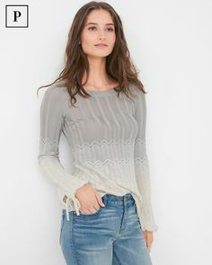 """Om-believably chic, this soft sweater features a chevron design, punctuated by a gorgeous ombre effect. The perfect finishing touch? Tonal self ties at the cuffs.  Ombre chevron sweater  Rayon/polyester/metallic thread. Machine wash.  Regular: Approx. 26"""" from shoulder   Petite: Approx. 24 5/8"""" from shoulder Imported"""