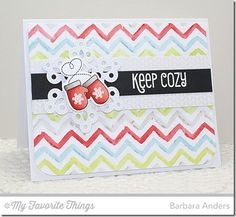 Cool Day stamp set and Die-namics, Nordic Knits, Pierced Snowflakes Die-namics, Small Chevron Strips Stencil - Barbara Anders #mftstamps
