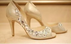 Gold pumps with large gemstones