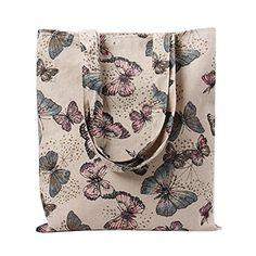 Caixia Womens Dandelion Floral Canvas Tote Shopping Bag Beige