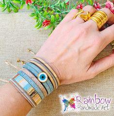 Handmade jewelry and more! Gold Light, Light Blue, Handmade Art, Handmade Jewelry, Blue Rings, Bracelets, Fashion, Moda, Handmade Jewellery