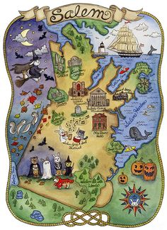 Map of Salem Massachusetts Art Print 11 x 14 by SepiaLepus on Etsy, $28.00 - I WILL live in Salem one day.