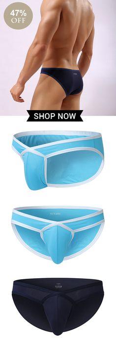 db08fa40e955 [Online Shopping] Sexy Patchwork Mesh Breathable Underwear /Low Waist  Briefs #menswear #