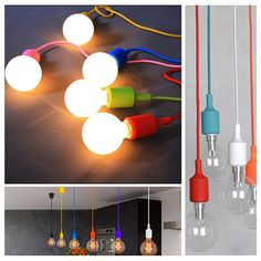 Socket Pendant Light, Ablevel E26 E27 Socket Base Silicon Pendant Hanging Lamp Holder With Wire, 3.3ft Colorful Designer Hard Wired Rope Cord 8 Pack (No Bulb) - - Amazon.com