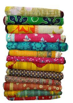 100 Piece set Vintage Kantha Quilt Reversible Bedspread Cotton Gudari Throw Art #Handmade #Traditional
