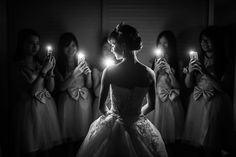 Black and white bridal party photo
