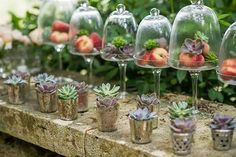 Looking for affordable, yet beautiful centerpieces? Considering using fruit for a green and cost-effective option. Our favorites are limes, lemons, apples, figs, berries and plums, but feel free to throw in your picks! Play around with different heights, containers, contrasting colors and supplemental pieces, as well as different size, color and cut of fruit.