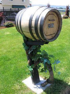 Wine barrel mail box!  Beso de Vino