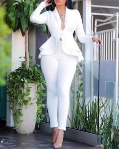 Sexy v neck ruffles tops skinny pants set Women two piece set Elegant office ladies workwear club outfits Casual tracksuit, White / XXL Trend Fashion, Women's Fashion, Cheap Fashion, Latest Fashion, Fashion Today, Fashion Kids, Fashion 2020, Vintage Fashion, Mein Style
