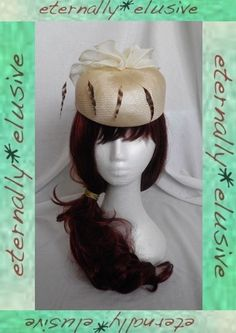 Original 50's 60's Kangol Cream Pill Box Hat Ladies Womens Races Wedding Special Occasion Feathers & Ruffle