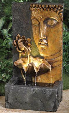 Buddha garden fountain for outdoor patio Indoor Waterfall Fountain, Indoor Wall Fountains, Indoor Fountain, Garden Fountains, Fountain Garden, Fountain Ideas, Water Fountains, Decorative Water Fountain, Tabletop Water Fountain