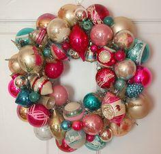 pink & aqua vintage ornaments wreath