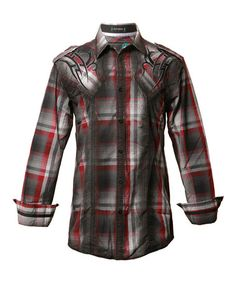 Another great find on #zulily! Black & Red Plaid Button-Up - Men by Roar Clothing #zulilyfinds