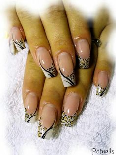 Leopard cheetah print nail art #pink and white #french #animal style