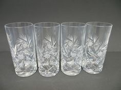 Vintage Set of 4 Pinwheel Crystal Hi-Ball Glasses