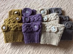 Metallic Knitted Boot Cuffs and Headband Set with Button Trim