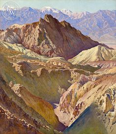 """Golden Valley Death Valley"" by Gunnar Widforss American Artist California Watercolor Arches Watercolor Paper, Watercolor Artists, Watercolor Landscape, Landscape Art, Landscape Paintings, Watercolor Paintings, Watercolor Print, Mural Painting, California Art"