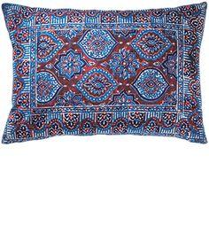 Blue/red azrak blockprint cushion cover, 35 x 50cm